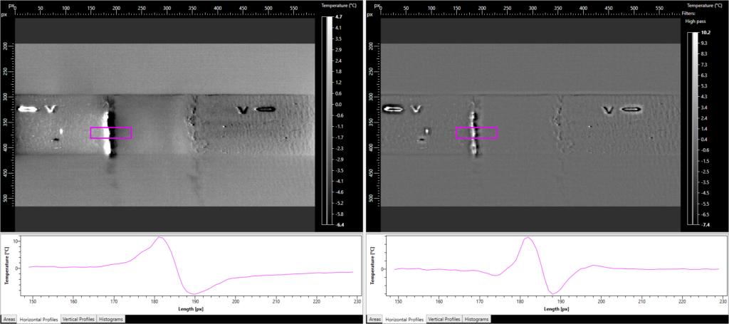 Illustration logiciel CND - Défaut 2 avec et sans traitement